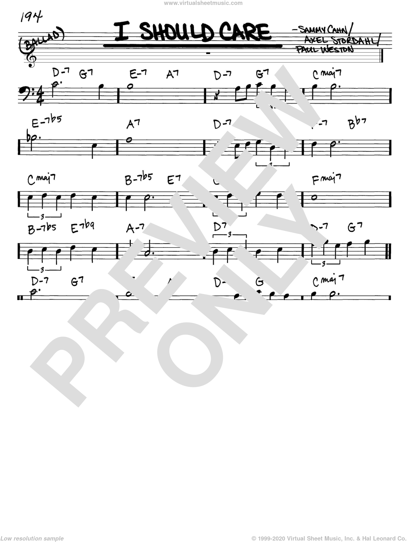 I Should Care sheet music for voice and other instruments (Bass Clef ) by Paul Weston