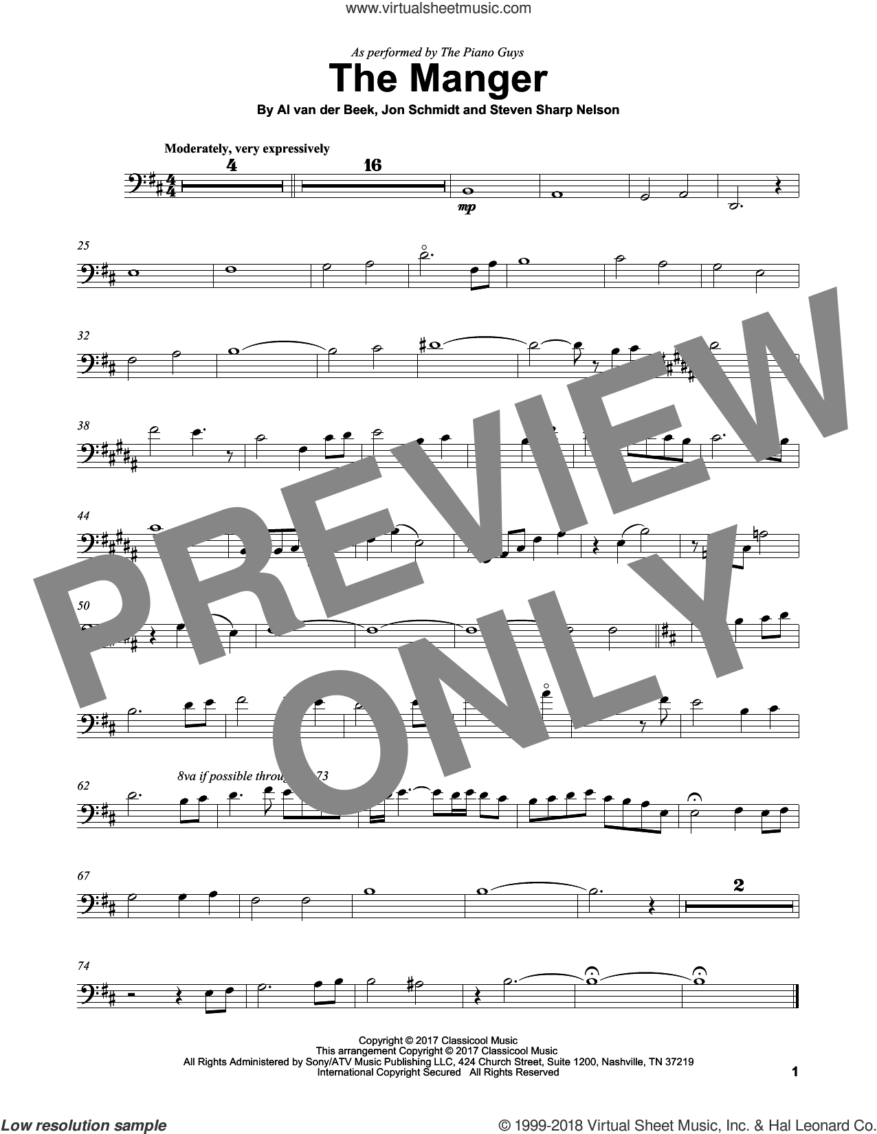 The Manger sheet music for cello solo by The Piano Guys, Al van der Beek, Jon Schmidt and Steven Sharp Nelson, intermediate skill level