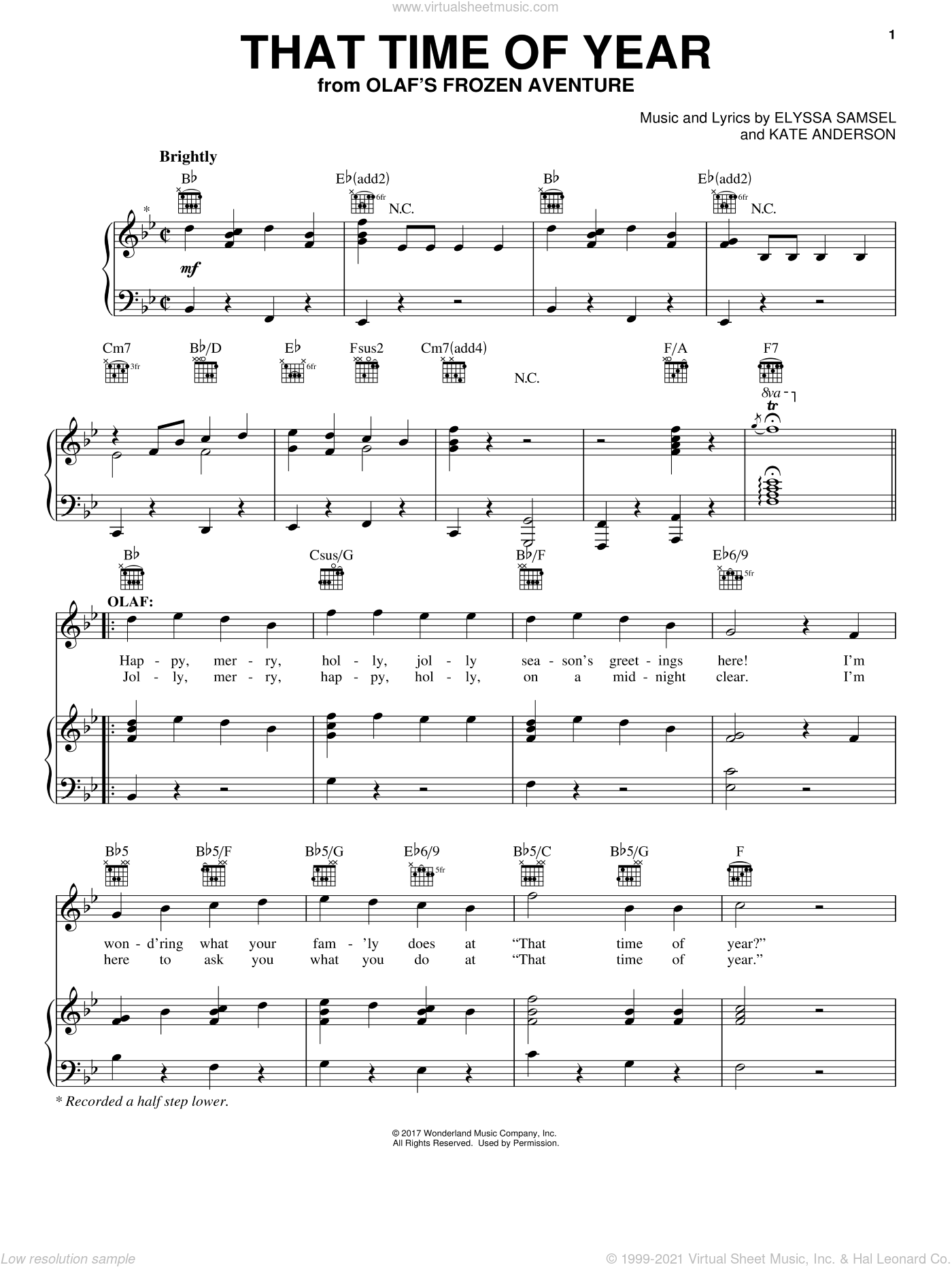 That Time Of Year sheet music for voice, piano or guitar by Elyssa Samsel and Kate Anderson, intermediate skill level