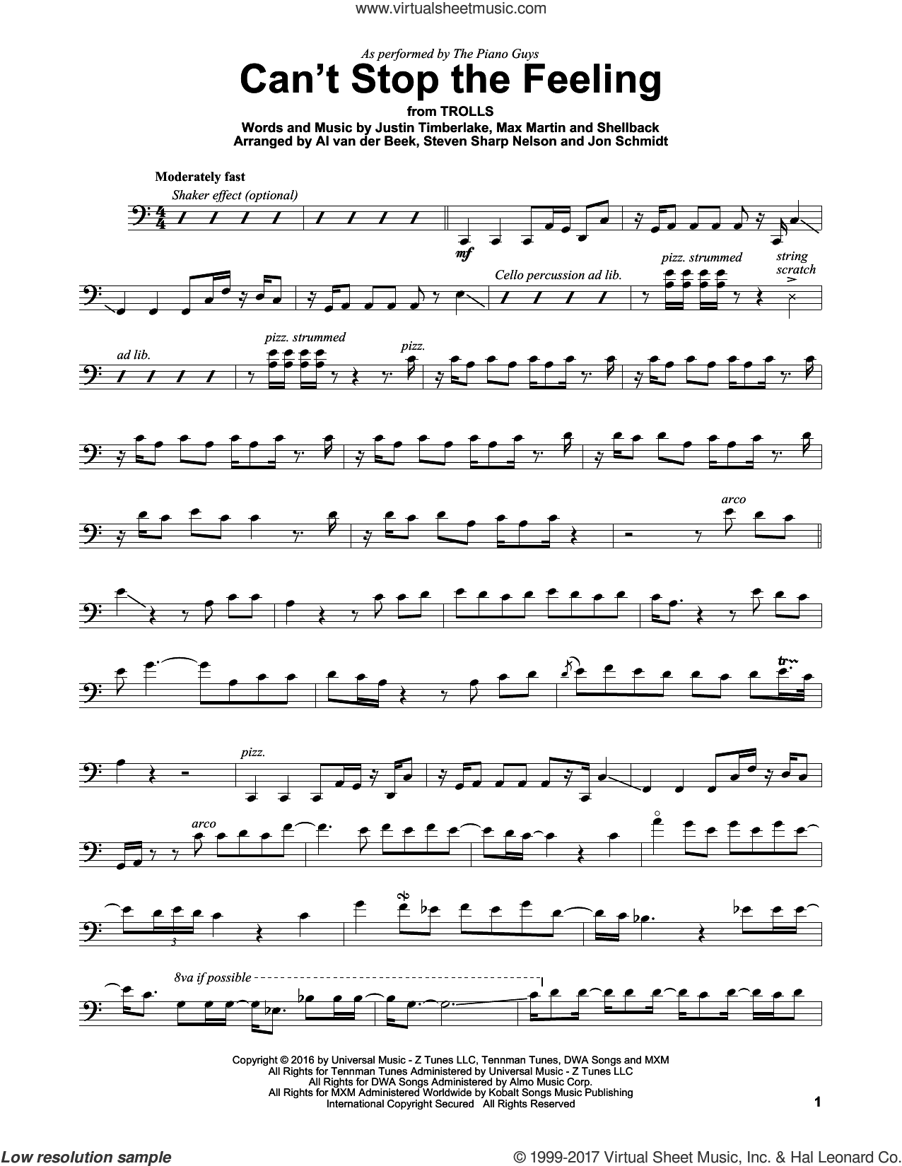 Can't Stop The Feeling sheet music for cello solo by The Piano Guys, Johan Schuster, Justin Timberlake, Max Martin and Shellback, intermediate