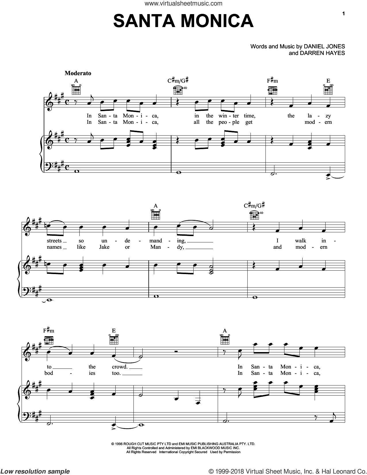 Santa Monica sheet music for voice, piano or guitar by Savage Garden, Danny Jones and Darren Hayes, intermediate. Score Image Preview.