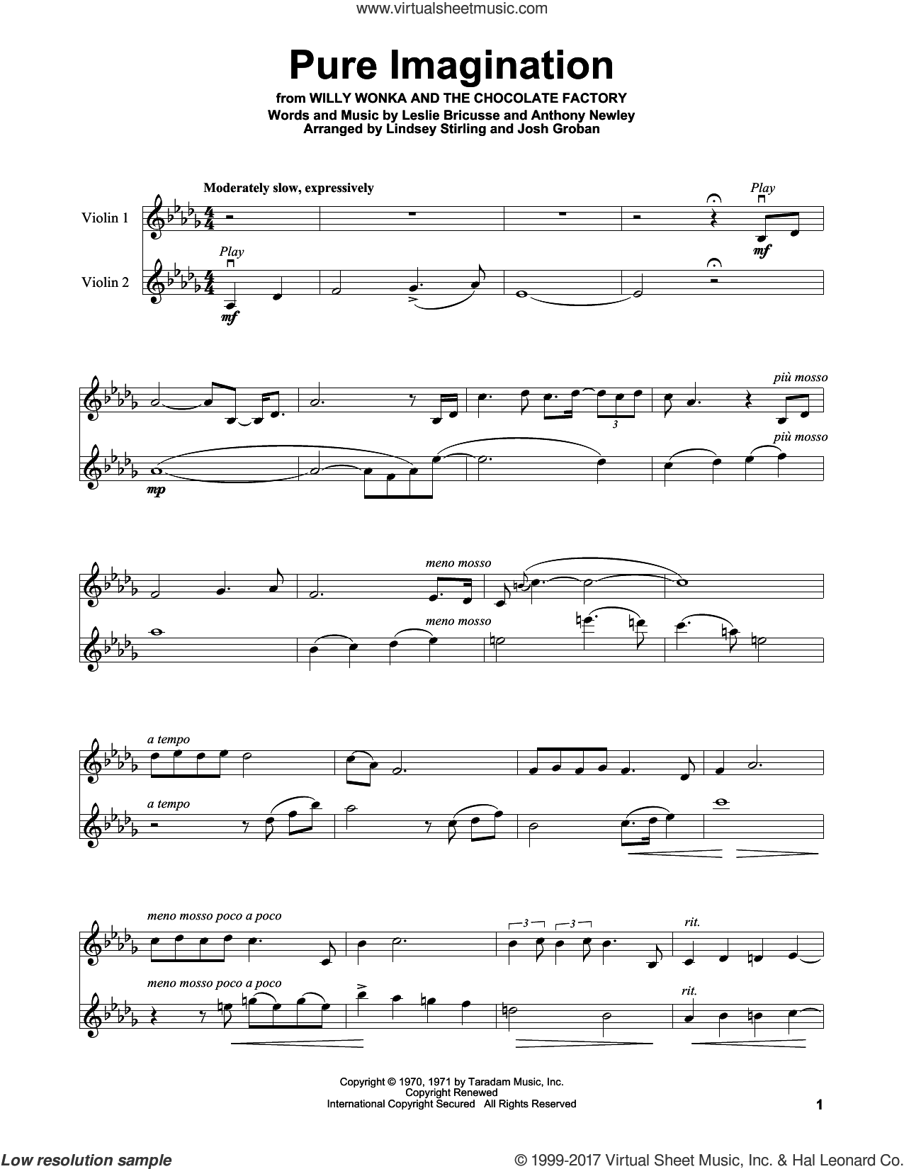 Pure Imagination sheet music for violin solo by Lindsey Stirling, Anthony Newley and Leslie Bricusse, intermediate skill level