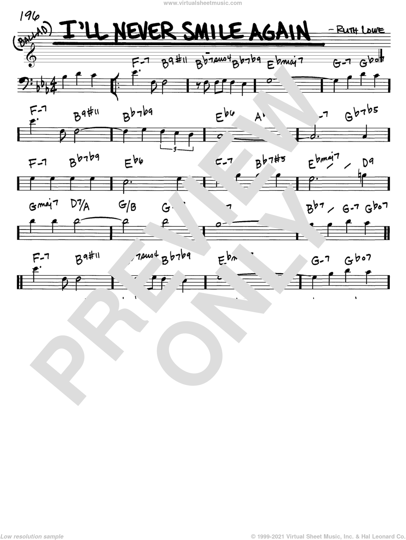 I'll Never Smile Again sheet music for voice and other instruments (Bass Clef ) by Ruth Lowe and Tommy Dorsey. Score Image Preview.