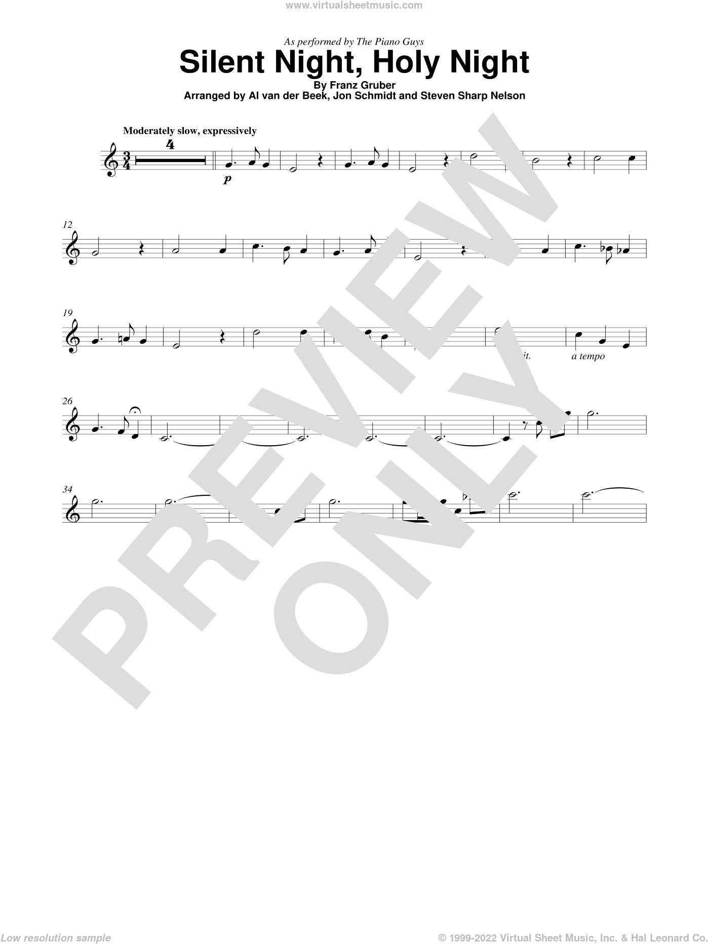 Silent Night, Holy Night sheet music for violin solo by The Piano Guys and Franz Gruber, intermediate skill level