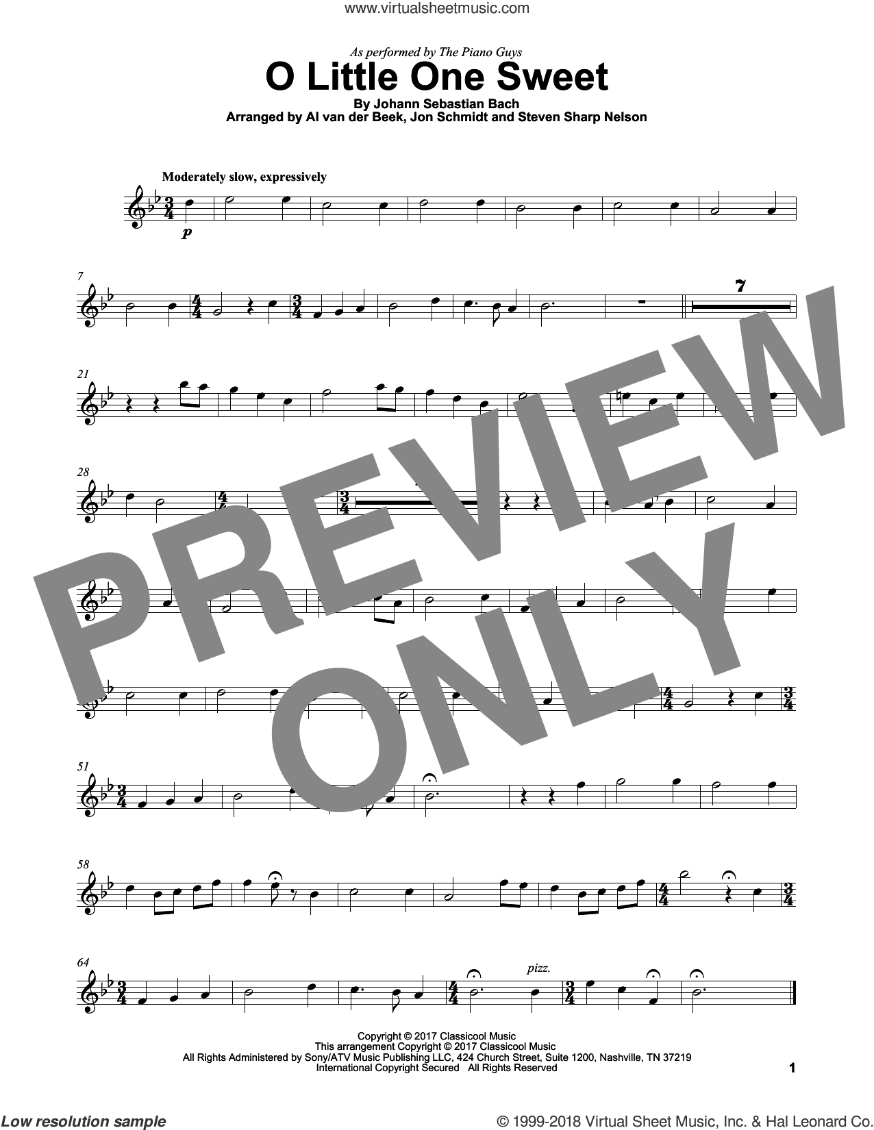 O Little One Sweet sheet music for violin solo by The Piano Guys, Al van der Beek, Johann Sebastian Bach and Steven Sharp Nelson (arr.), intermediate skill level