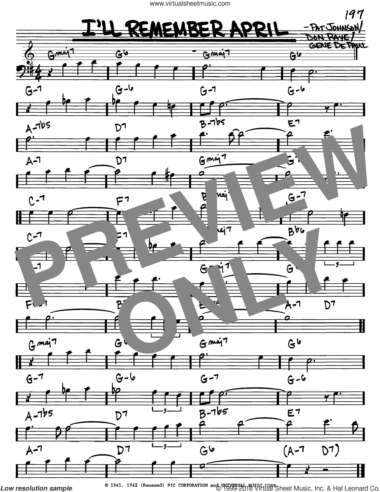 I'll Remember April sheet music for voice and other instruments (bass clef) by Woody Herman, Don Raye, Gene DePaul and Pat Johnson, intermediate skill level