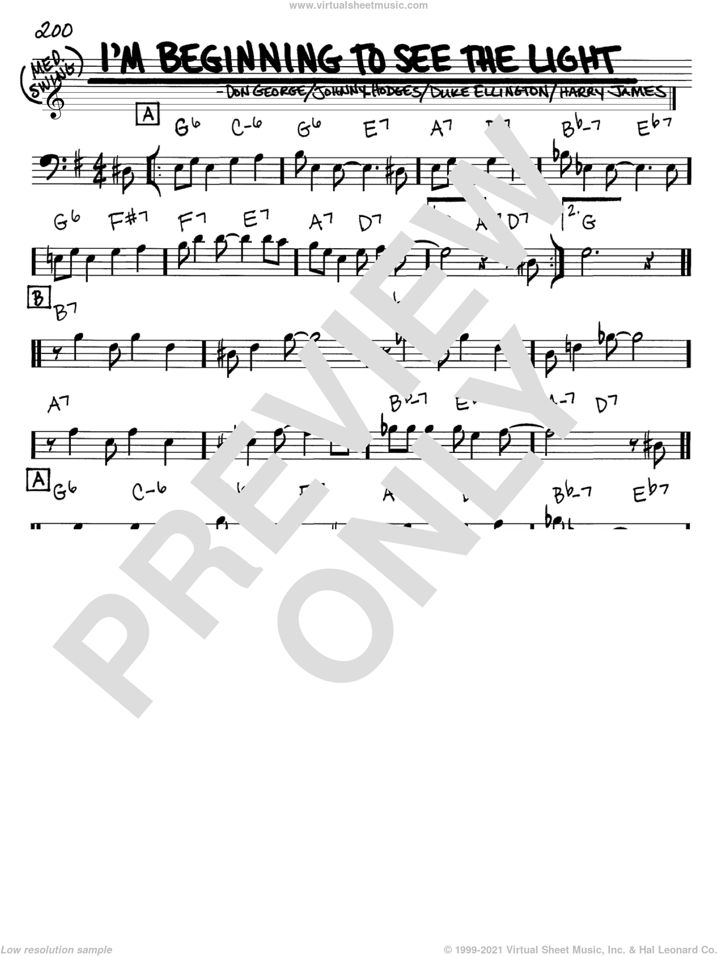 I'm Beginning To See The Light sheet music for voice and other instruments (Bass Clef ) by Johnny Hodges, Don George, Duke Ellington and Harry James. Score Image Preview.