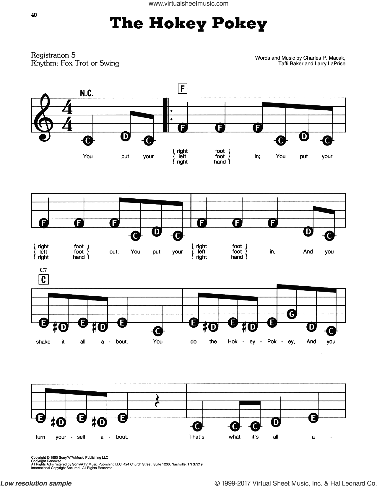 The Hokey Pokey sheet music for piano or keyboard (E-Z Play) by Larry LaPrise, Charles P. Macak and Tafft Baker, easy skill level
