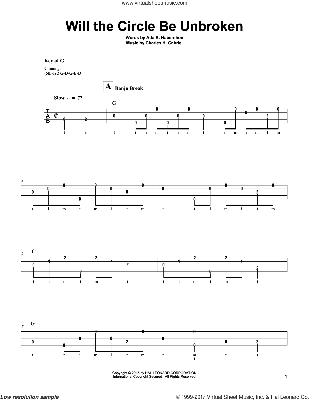 Will The Circle Be Unbroken sheet music for banjo solo by Charles H. Gabriel and Ada R. Habershon, intermediate skill level