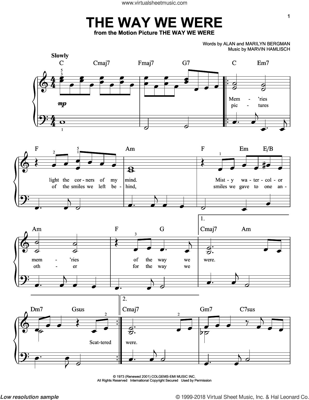 The Way We Were, (beginner) sheet music for piano solo by Barbra Streisand, Alan Bergman, Marilyn Bergman and Marvin Hamlisch, beginner skill level