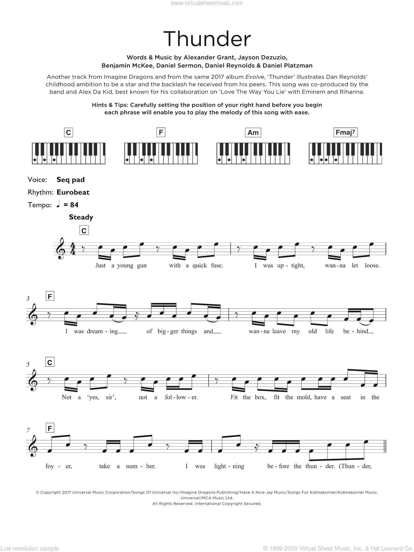 Thunder sheet music for piano solo (keyboard) by Imagine Dragons, Alexander Grant, Benjamin McKee, Daniel Platzman, Daniel Reynolds, Daniel Sermon and Jayson Dezuzio, intermediate piano (keyboard)