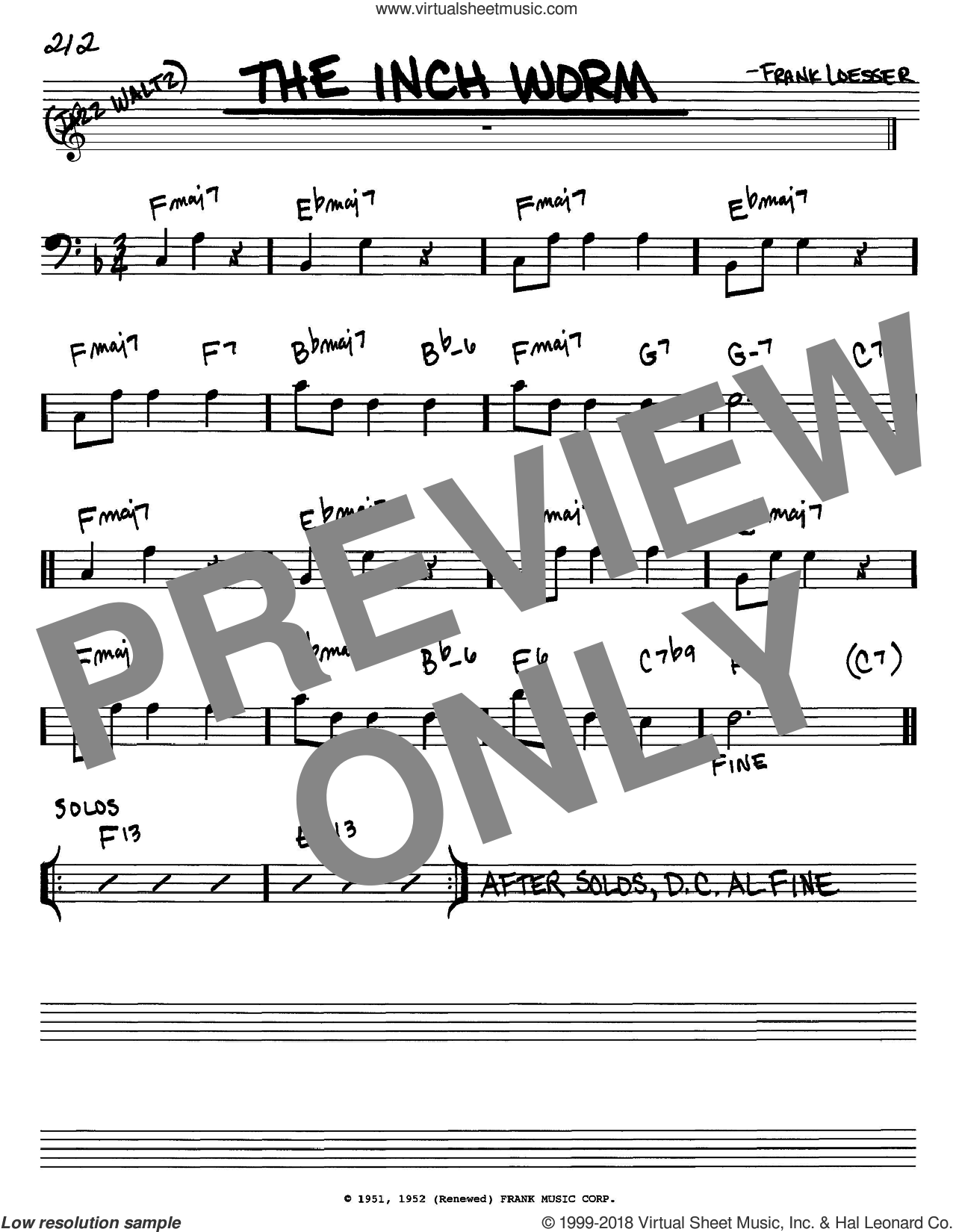 The Inch Worm sheet music for voice and other instruments (bass clef) by Frank Loesser, intermediate skill level