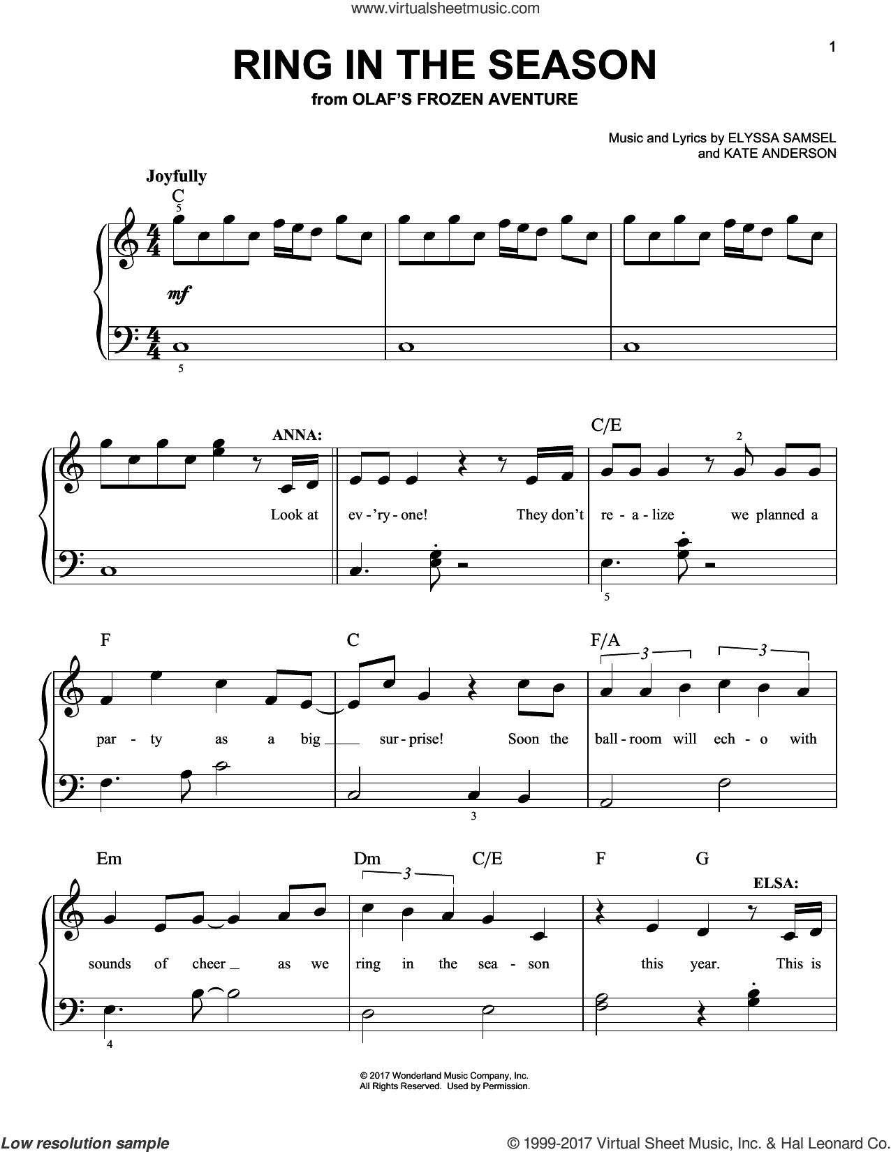 Ring In The Season sheet music for piano solo by Kate Anderson and Elyssa Samsel, easy skill level
