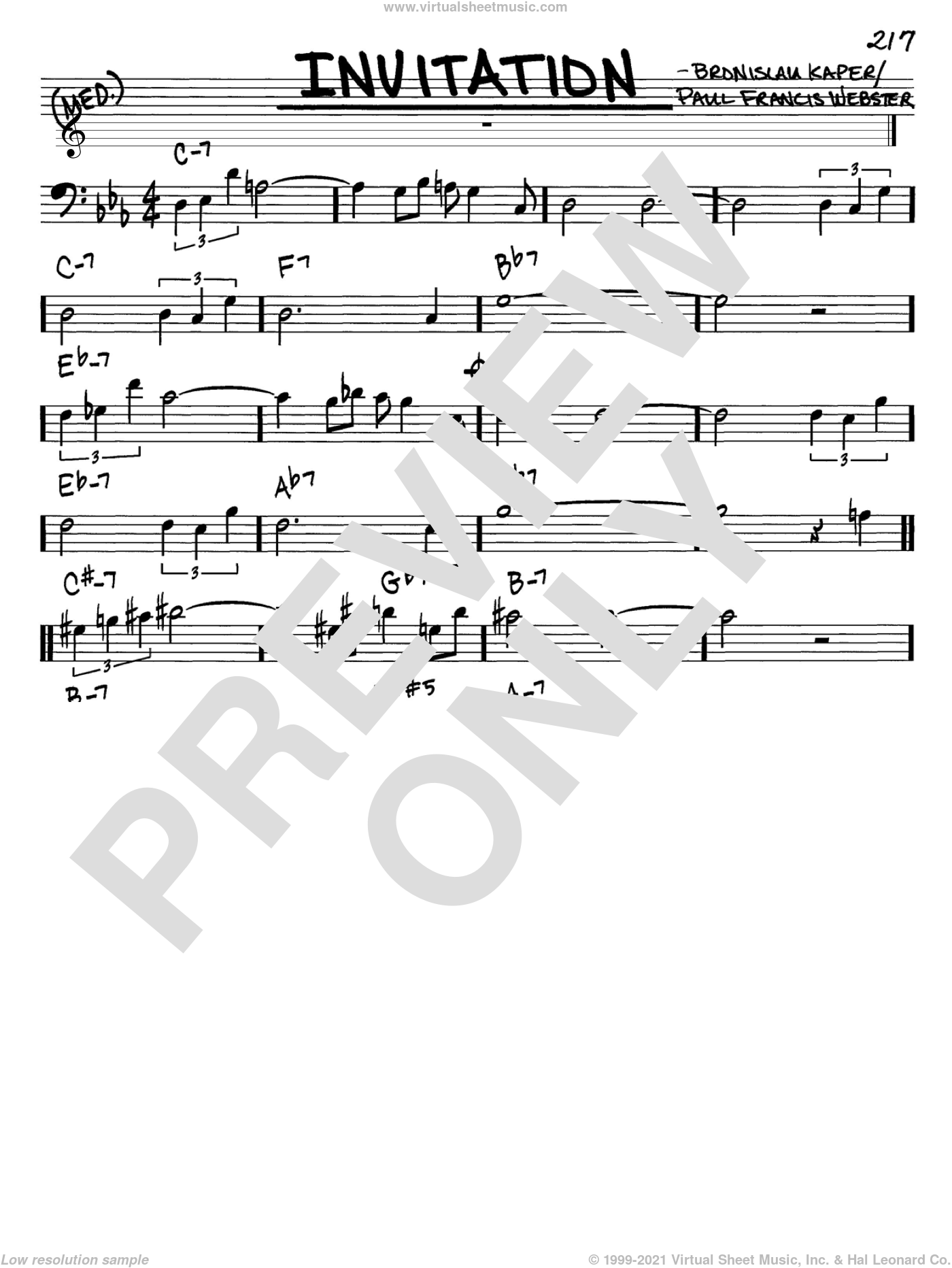 Invitation sheet music for voice and other instruments (Bass Clef ) by Bronislau Kaper