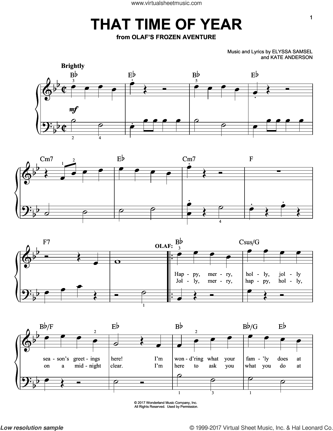 That Time Of Year sheet music for piano solo by Kate Anderson and Elyssa Samsel, easy. Score Image Preview.