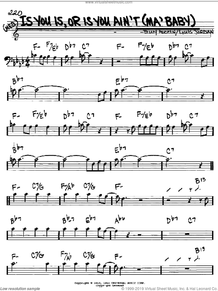 Is You Is, Or Is You Ain't (Ma' Baby) sheet music for voice and other instruments (bass clef) by Louis Jordan and Billy Austin, intermediate