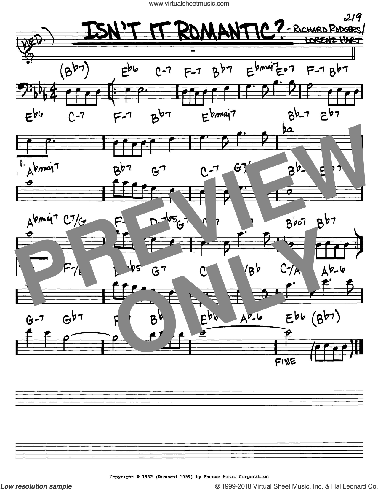 Isn't It Romantic? sheet music for voice and other instruments (Bass Clef ) by Richard Rodgers, Rodgers & Hart and Lorenz Hart. Score Image Preview.