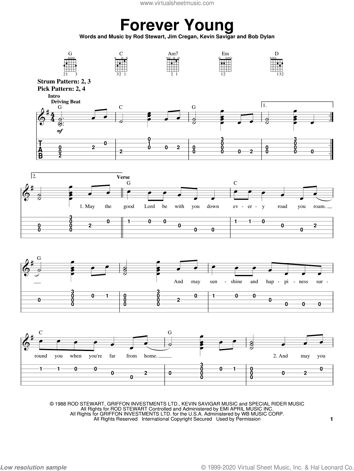 Forever Young sheet music for guitar solo (chords) by Kevin Savigar, Rod Stewart, Bob Dylan and Jim Cregan. Score Image Preview.