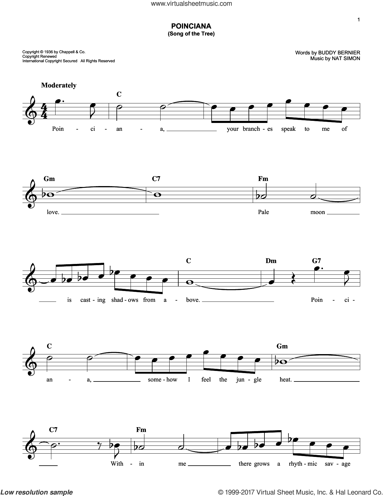 Poinciana (Song Of The Tree) sheet music for voice and other instruments (fake book) by Buddy Bernier and Nat Simon, intermediate skill level