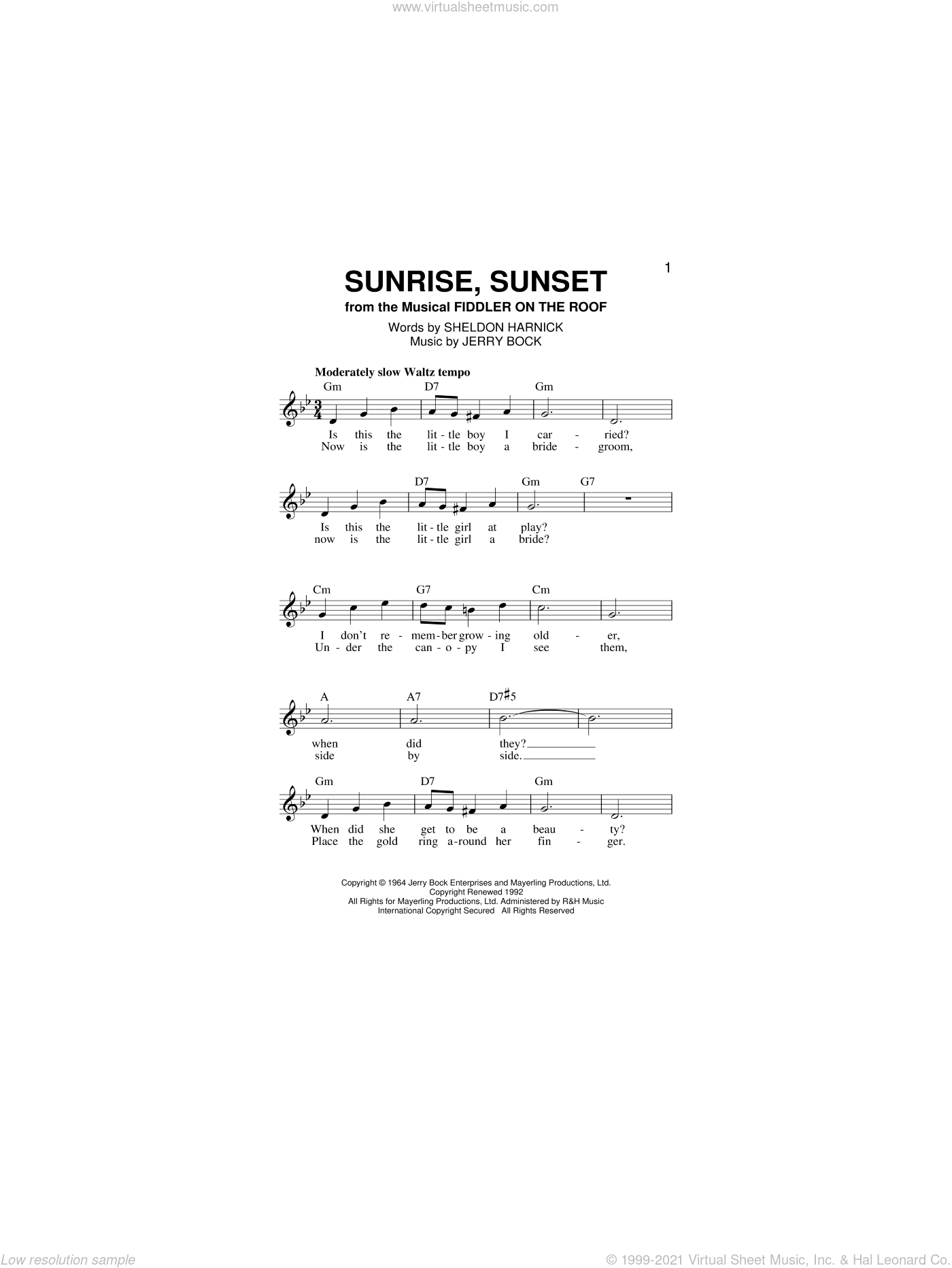 Sunrise, Sunset sheet music for voice and other instruments (fake book) by Jerry Bock and Sheldon Harnick, intermediate skill level