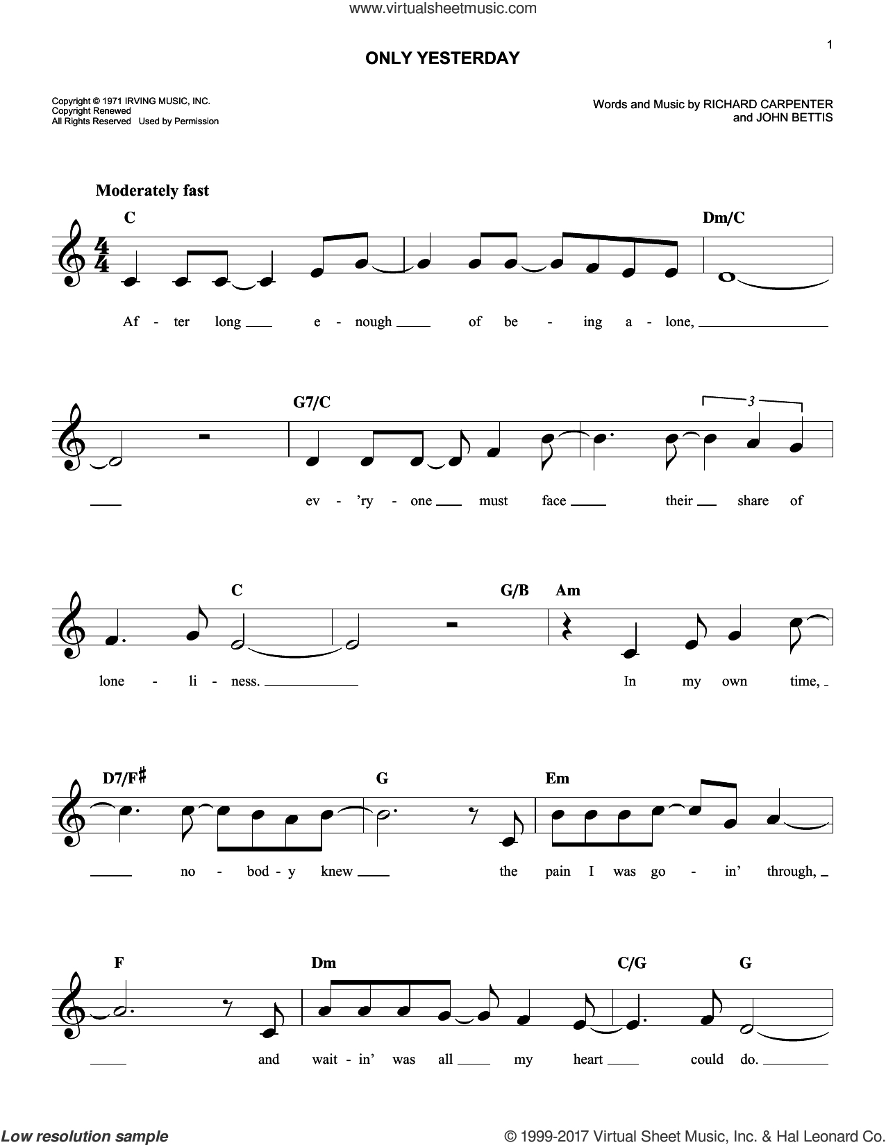 Only Yesterday sheet music for voice and other instruments (fake book) by Richard Carpenter, Carpenters and John Bettis, intermediate skill level