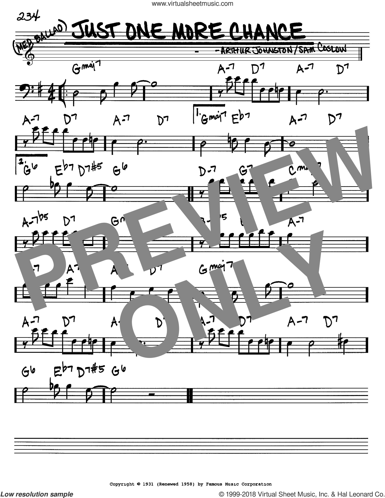 Just One More Chance sheet music for voice and other instruments (Bass Clef ) by Sam Coslow, Bing Crosby and Arthur Johnston. Score Image Preview.