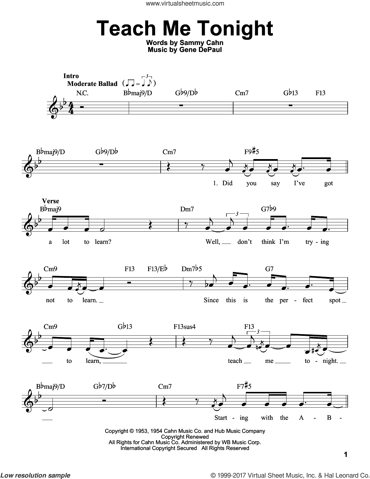 Teach Me Tonight sheet music for voice solo by Sammy Cahn and Gene DePaul, intermediate skill level
