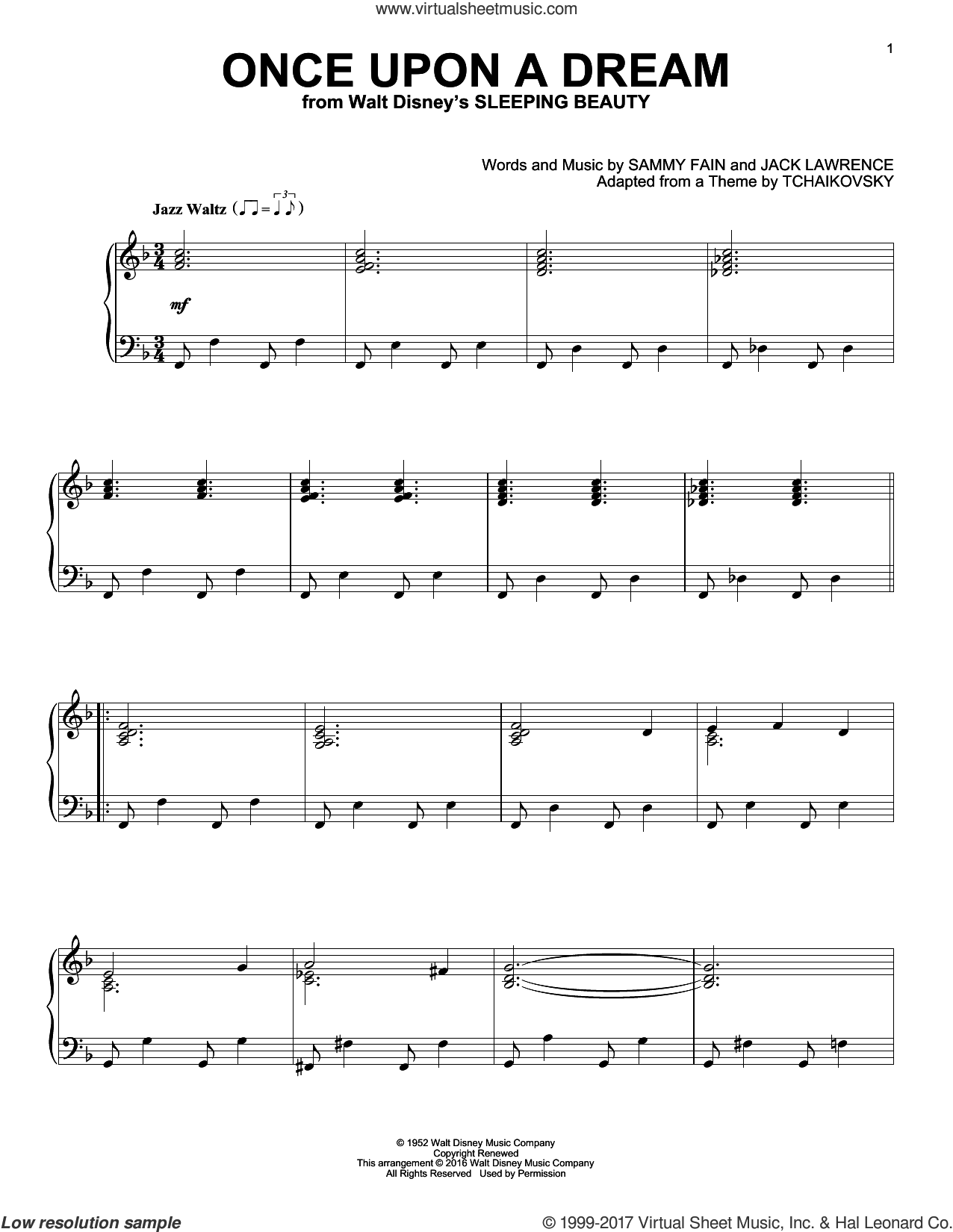 Once Upon A Dream [Jazz version] sheet music for piano solo by Sammy Fain and Jack Lawrence, intermediate skill level
