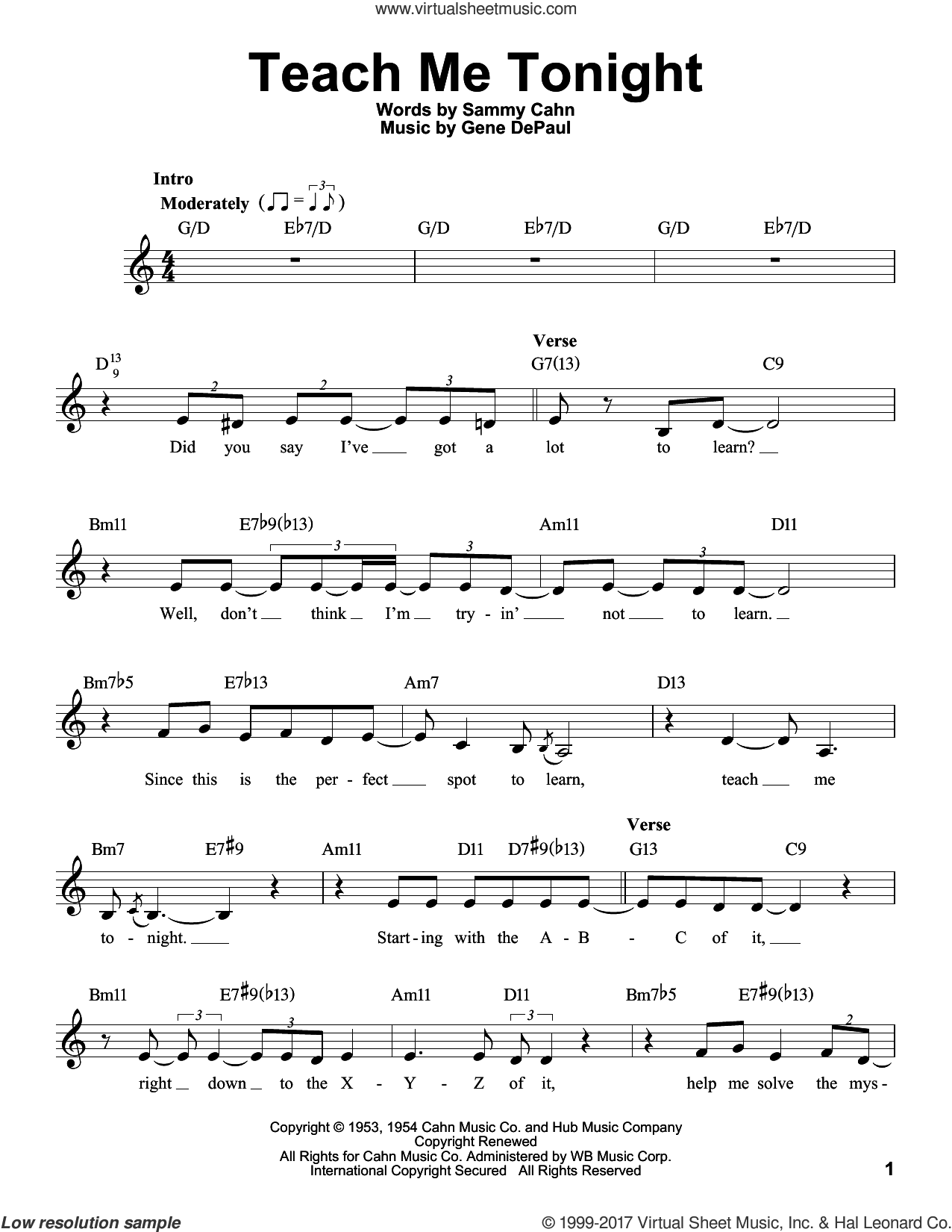 Teach Me Tonight sheet music for voice solo by Sammy Cahn, Judy Niemack and Gene DePaul, intermediate skill level