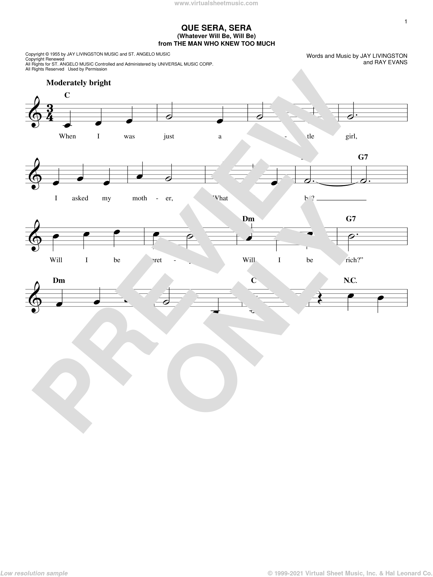 Que Sera, Sera (Whatever Will Be, Will Be) sheet music for voice and other instruments (fake book) by Doris Day, Jay Livingston and Raymond B. Evans, intermediate skill level