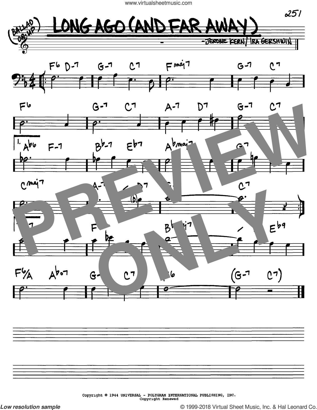 Long Ago (And Far Away) sheet music for voice and other instruments (bass clef) by Jerome Kern and Ira Gershwin, intermediate. Score Image Preview.