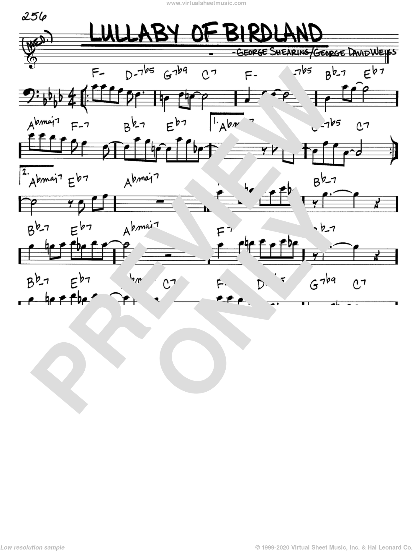 Lullaby Of Birdland sheet music for voice and other instruments (Bass Clef ) by George Shearing and George David Weiss, intermediate. Score Image Preview.