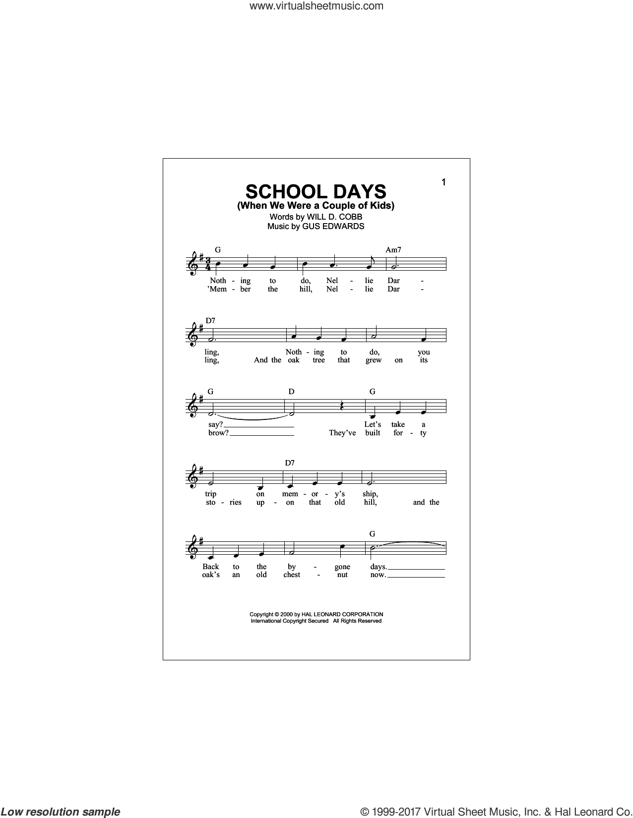 School Days (When We Were A Couple Of Kids) sheet music for voice and other instruments (fake book) by Gus Edwards and Will D. Cobb, intermediate skill level