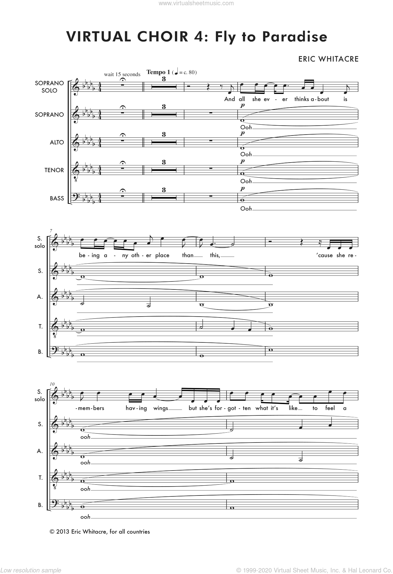 Fly To Paradise sheet music for choir (SATB: soprano, alto, tenor, bass) by Eric Whitacre, classical score, intermediate skill level