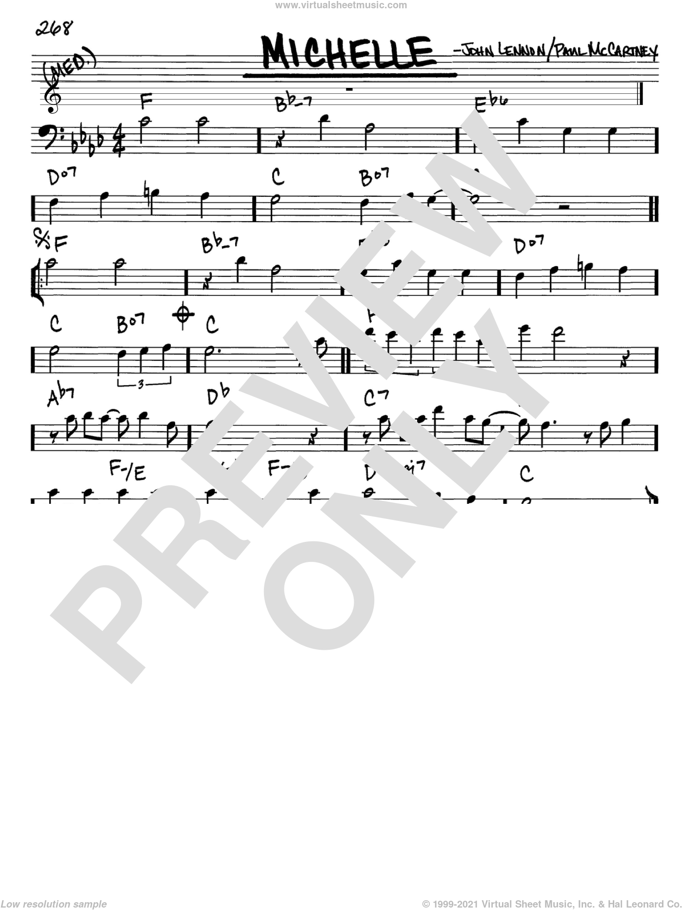 Michelle sheet music for voice and other instruments (bass clef) by The Beatles, John Lennon and Paul McCartney, intermediate. Score Image Preview.