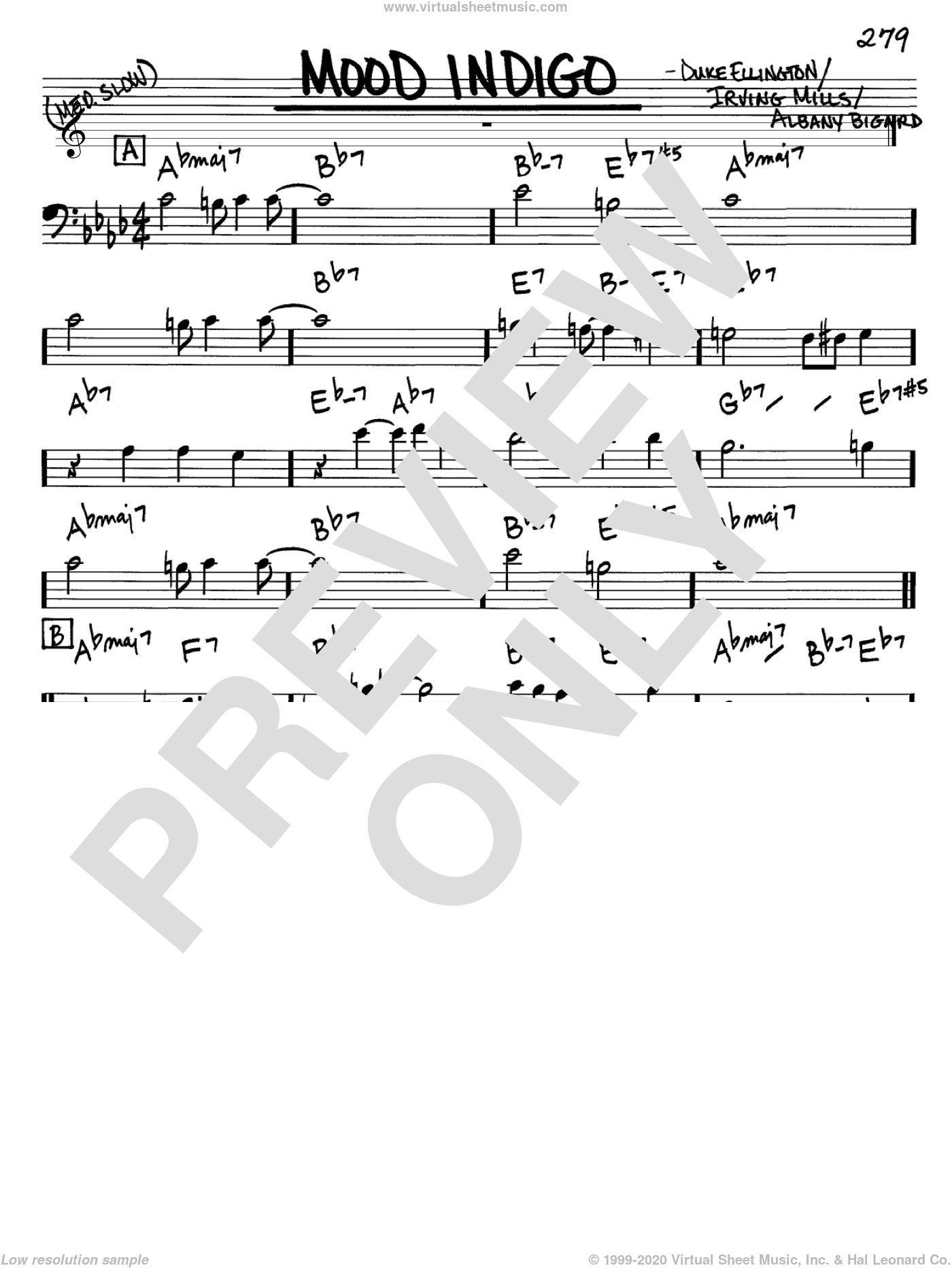 Mood Indigo sheet music for voice and other instruments (Bass Clef ) by Irving Mills, Albany Bigard and Duke Ellington. Score Image Preview.