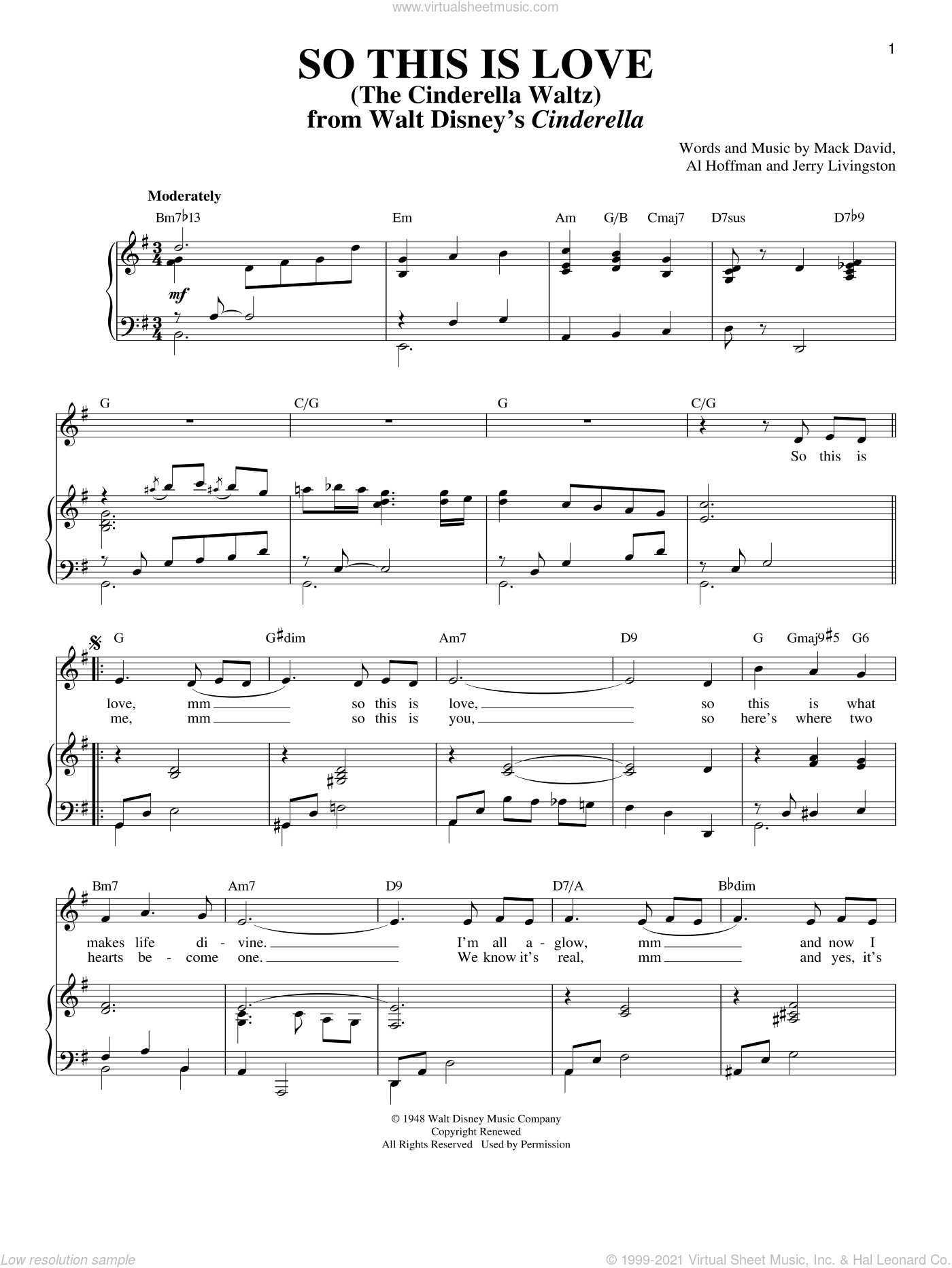 So This Is Love sheet music for voice and piano by Al Hoffman, Jerry Livingston and Mack David, intermediate skill level