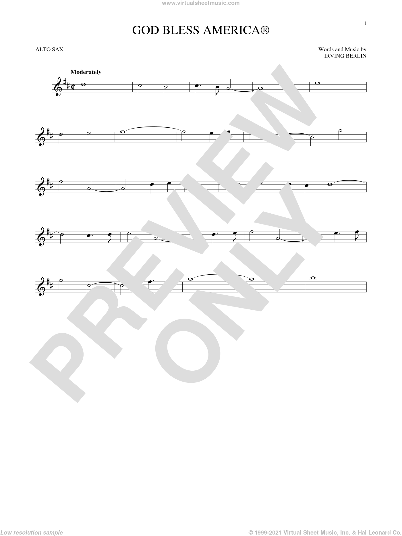 God Bless America sheet music for alto saxophone solo by Irving Berlin, intermediate skill level