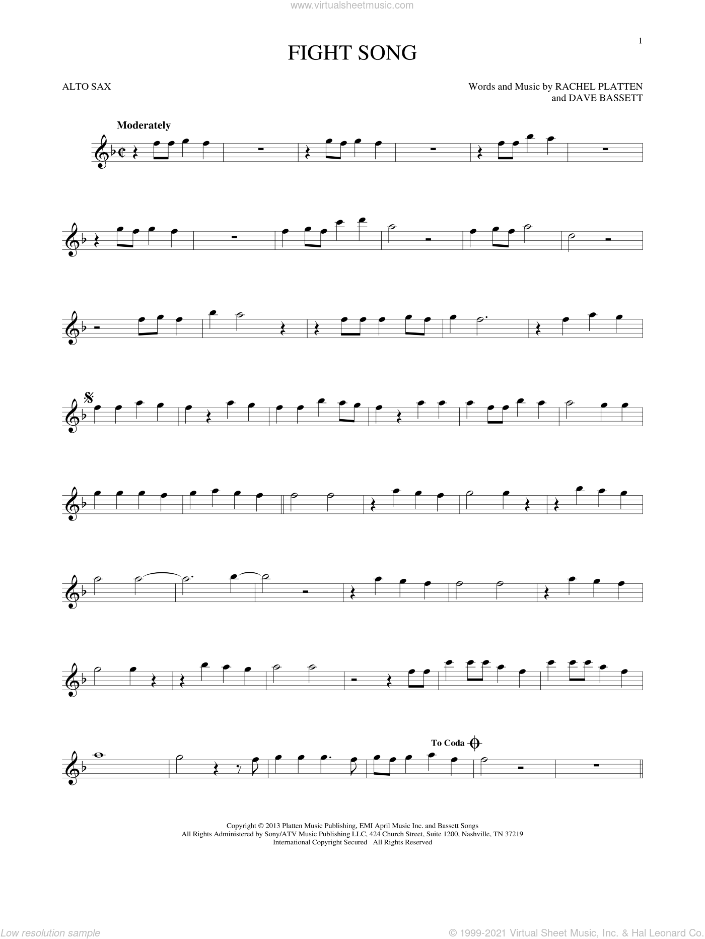 Platten - Fight Song sheet music for alto saxophone solo [PDF]