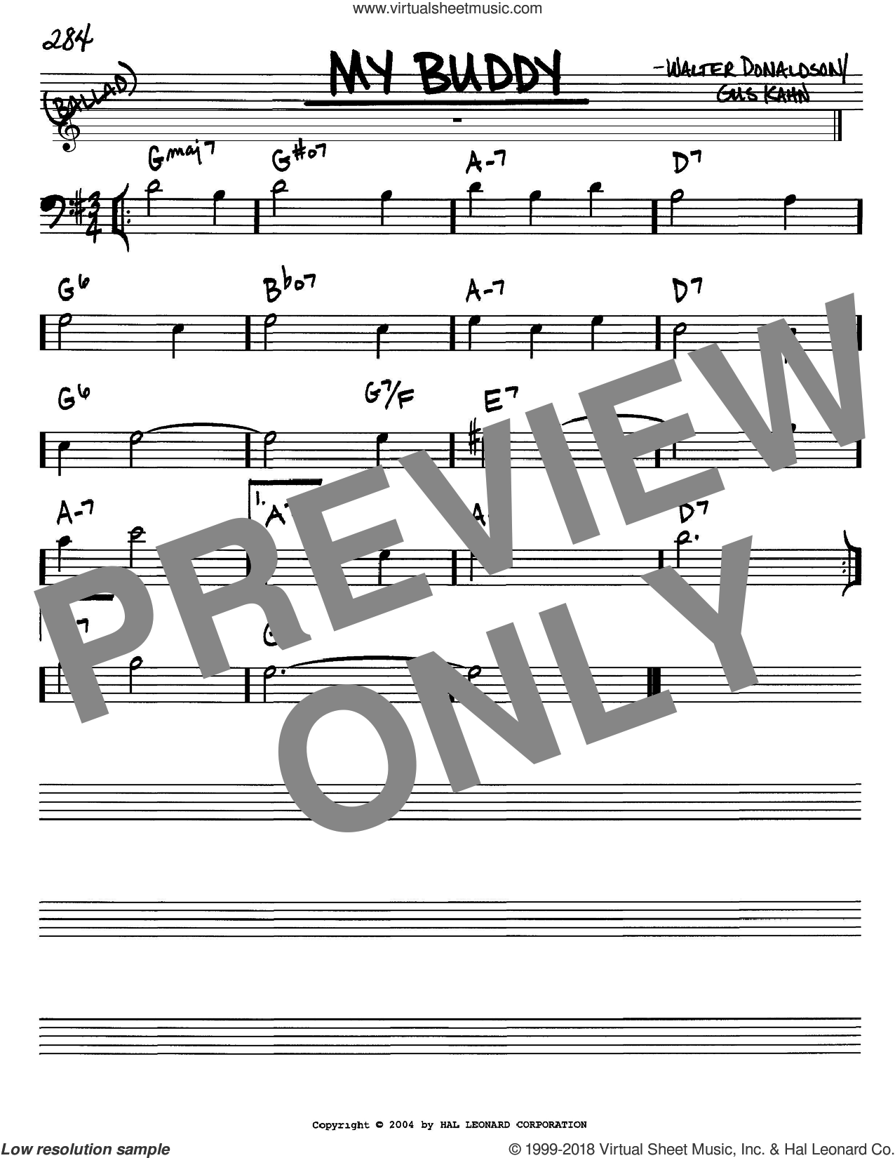 My Buddy sheet music for voice and other instruments (Bass Clef ) by Walter Donaldson