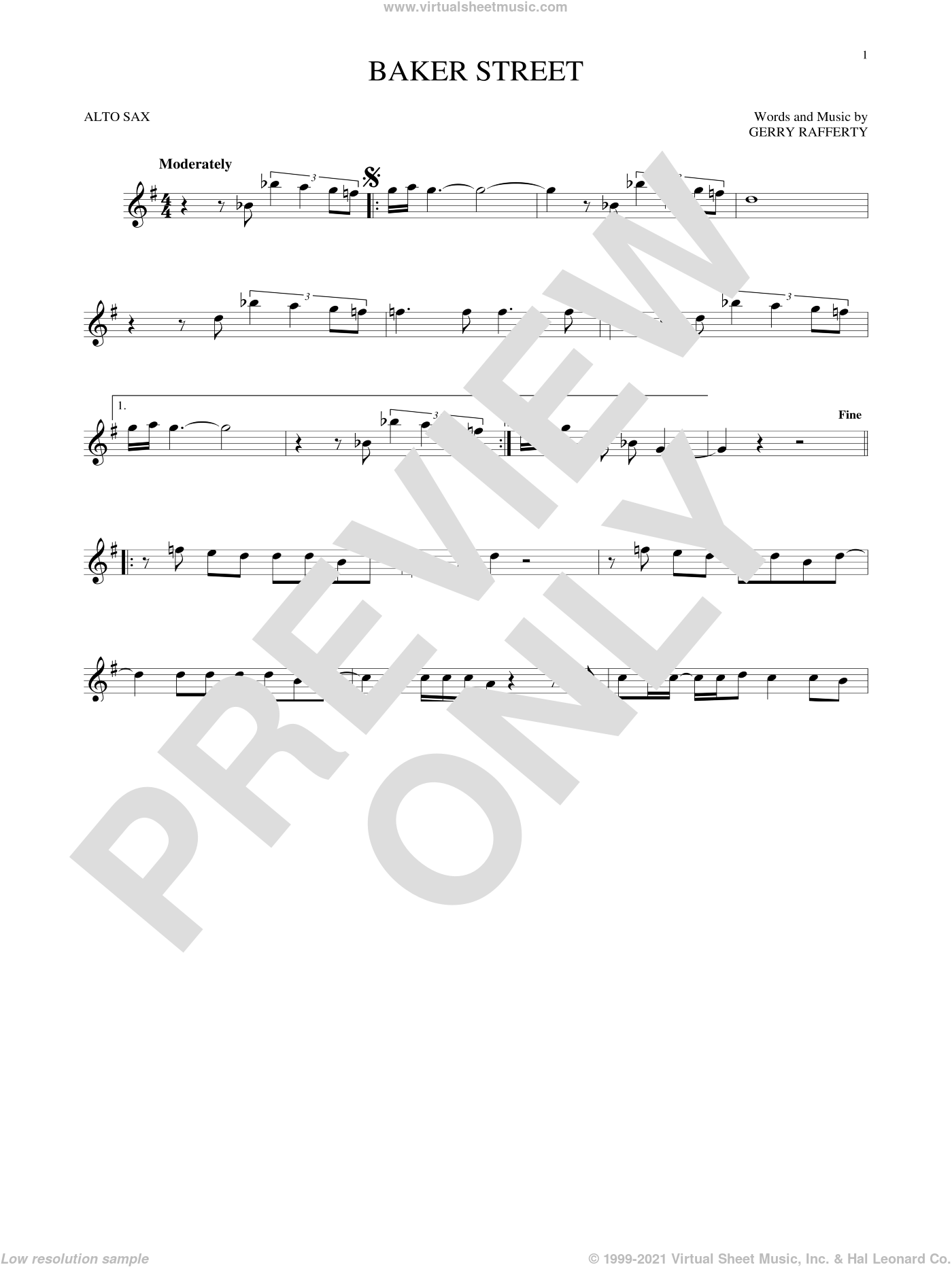 Baker Street sheet music for alto saxophone solo by Foo Fighters and Gerry Rafferty, intermediate skill level