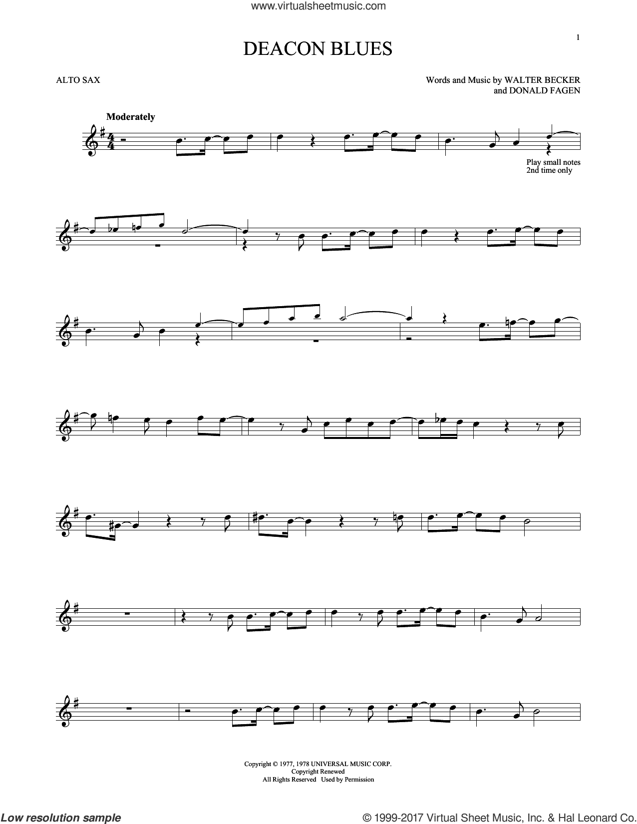 Deacon Blues sheet music for alto saxophone solo by Steely Dan, Donald Fagen and Walter Becker, intermediate skill level