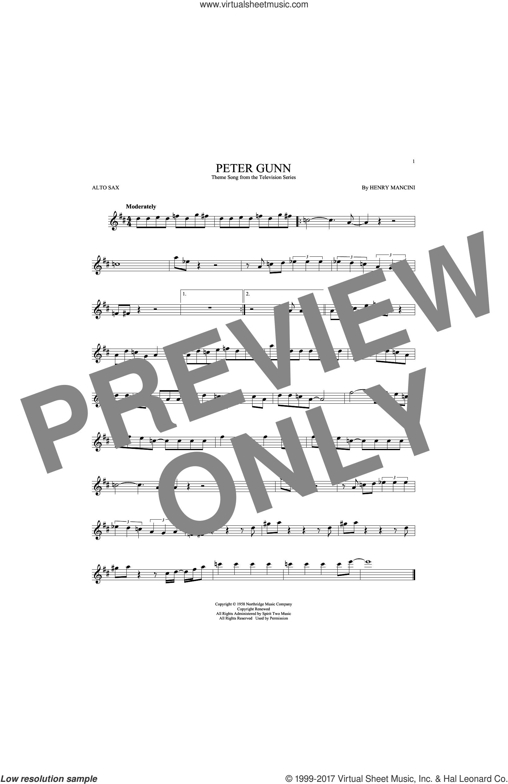 Peter Gunn sheet music for alto saxophone solo by Henry Mancini, intermediate skill level