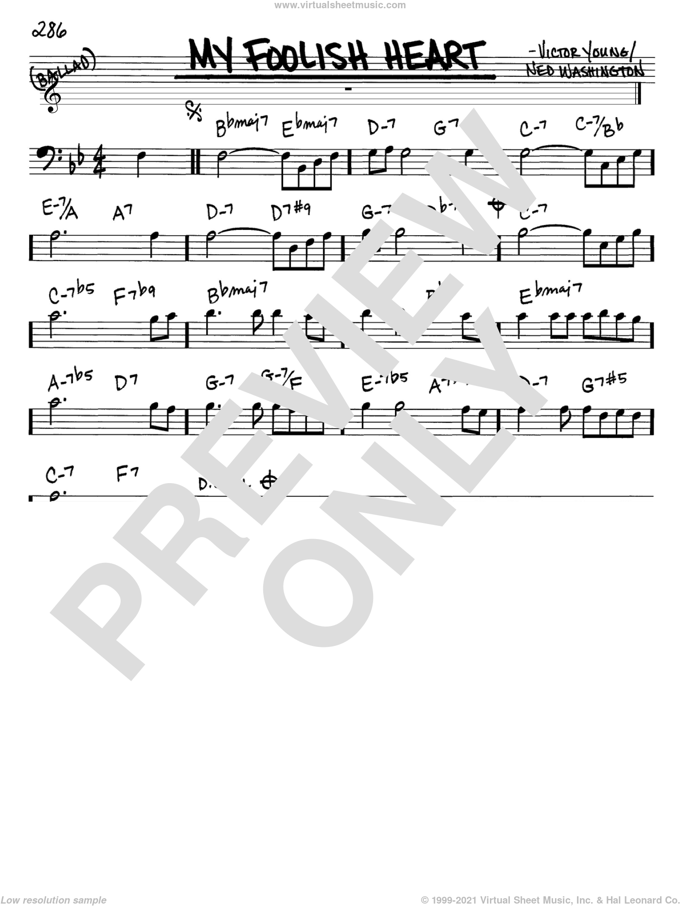 My Foolish Heart sheet music for voice and other instruments (Bass Clef ) by Ned Washington and Victor Young. Score Image Preview.