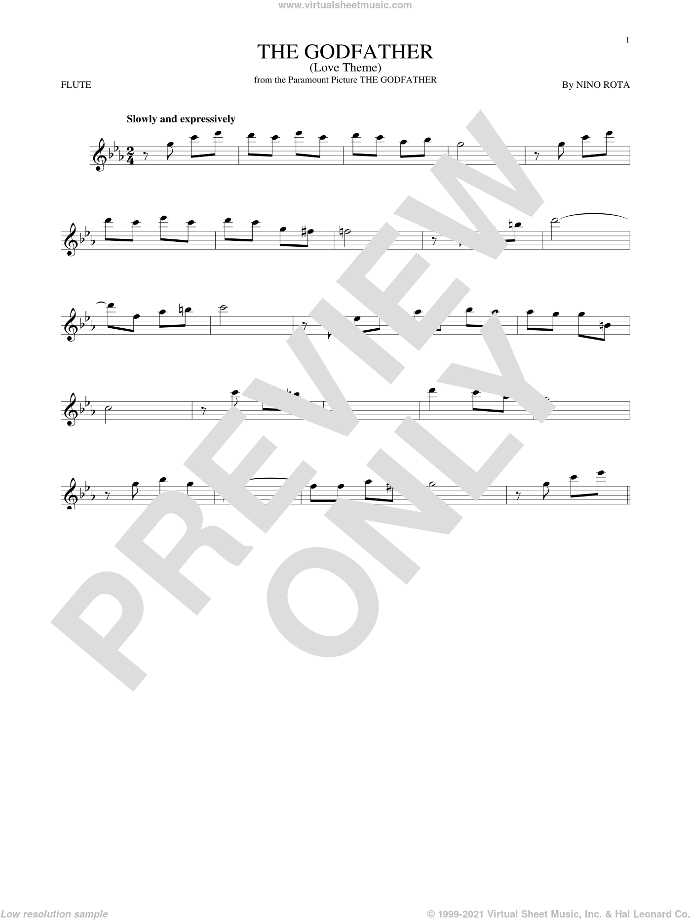 The Godfather (Love Theme) sheet music for flute solo by Nino Rota, intermediate skill level