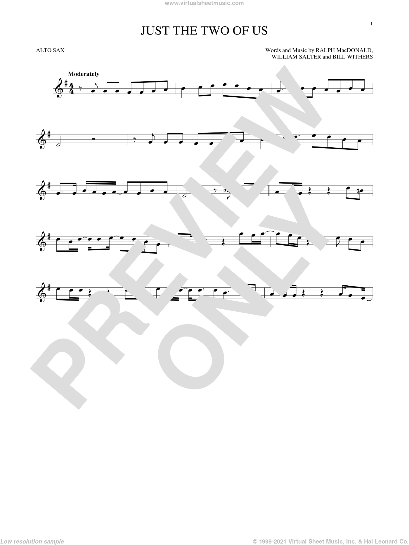 Just The Two Of Us sheet music for alto saxophone solo by Bill Withers, intermediate skill level