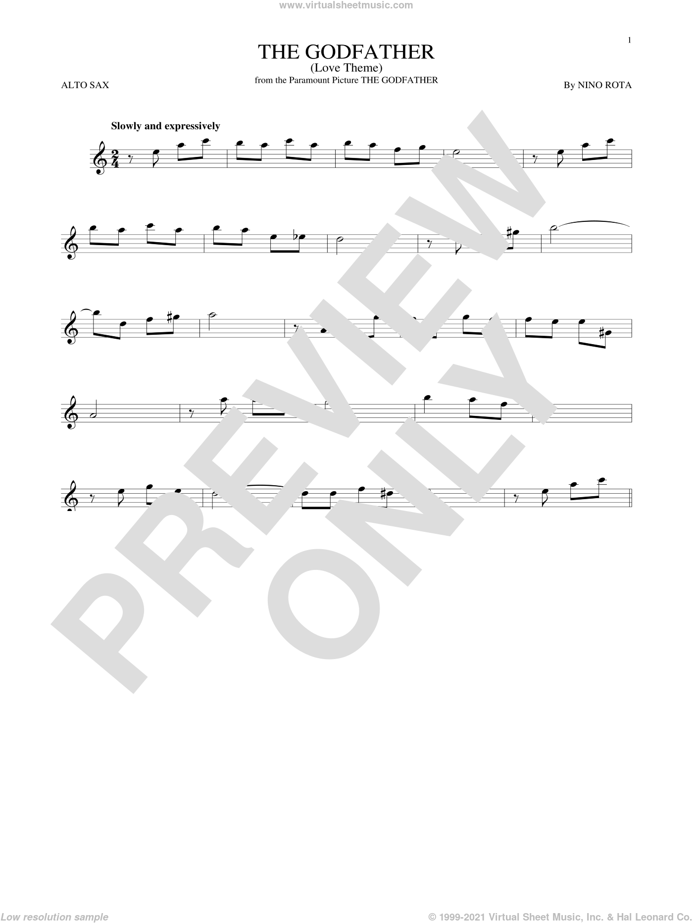 The Godfather (Love Theme) sheet music for alto saxophone solo by Nino Rota, intermediate. Score Image Preview.