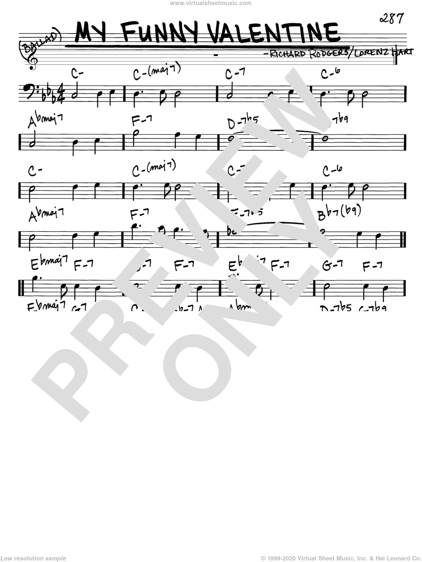 Hart My Funny Valentine Sheet Music Real Book Melody And Chords