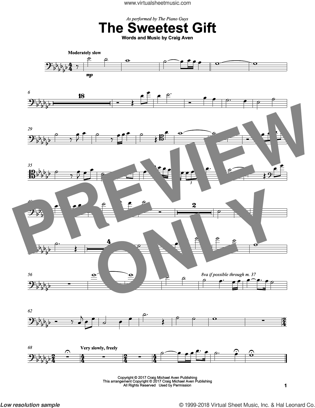 The Sweetest Gift sheet music for cello solo by The Piano Guys and Craig Aven, intermediate skill level