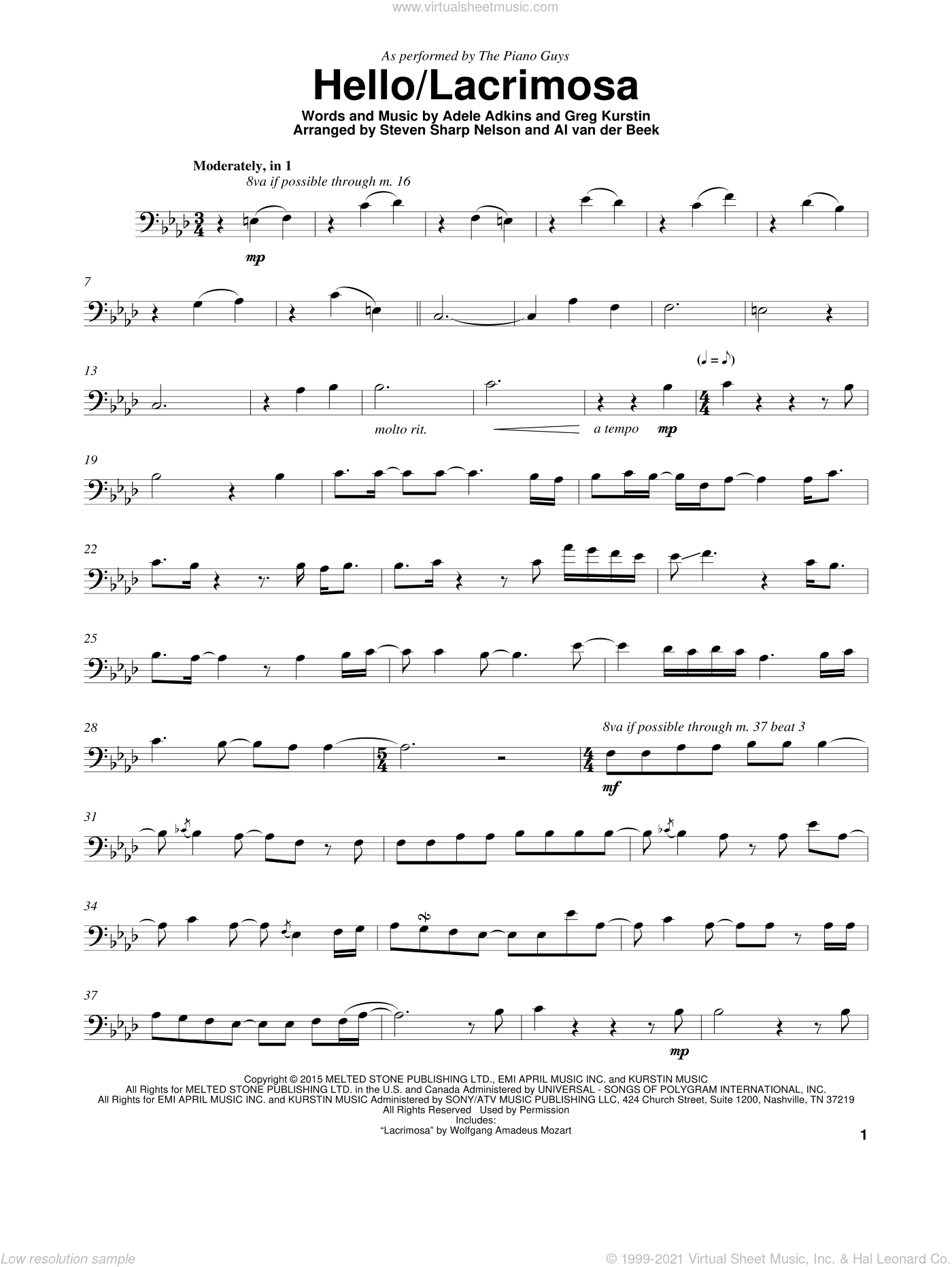 Hello/Lacrimosa sheet music for cello solo by The Piano Guys, Adele, Adele Adkins and Greg Kurstin, intermediate skill level
